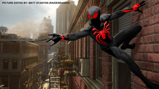 Spider-Man PS4 - Fan Poster (Red Stealth Suit) by RaidenRaider