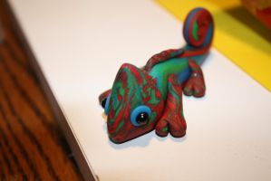 Colorful Chameleon made of Polymer Clay by Lugiafan4life