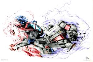 optimus vs megatron by winningdo