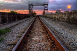 The railway behind the sunset by fighteden