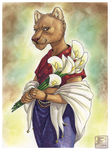 Lioness with Calla Lilies by ashkey