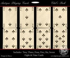 Antique Playing Cards Clubs by duggar