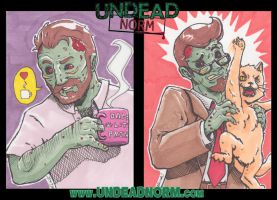 Undead Norm sketchcards by MichaelLinkJr