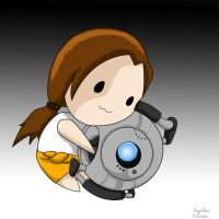 Chell and Wheatley by ShadowSilverfan1997