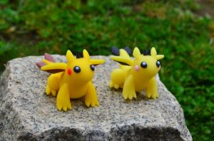 Pikachu-Dragon and Pichu-Dragon by CraftDragons