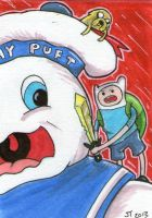 Adventure Time Takes on Stay Puft sketch card by johnnyism
