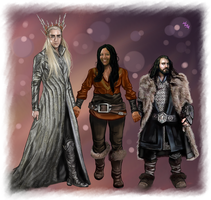Thranduil, Thorin and Vargkom by LadyMintLeaf