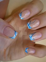 French manicure with blue stripes by bl00dflowerz