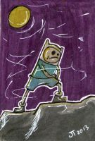 Finn at Night Sketch Card by johnnyism