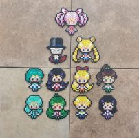 Chibi Senshi - Sailor Moon Perler Bead Sprites by MaddogsCreations