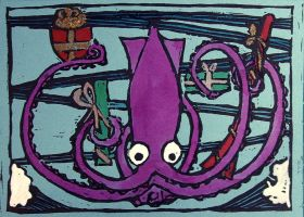 The Giant Squid Has A Present For You by lazylinepainterjane