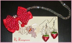 Kawai pink bunny and cute strawberry jewel set by Bunnymoon-Cosplay
