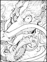 chinese dragon ink face by Anarch-inks