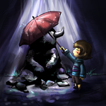 Undertale Statue in the Rain by awisha-teh-ninja