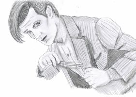 11th Doctor Greyscale Sketch by Chrisily