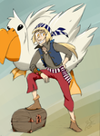 Auxence De Monnoir and his giant pelican - request by FeatherpantsD