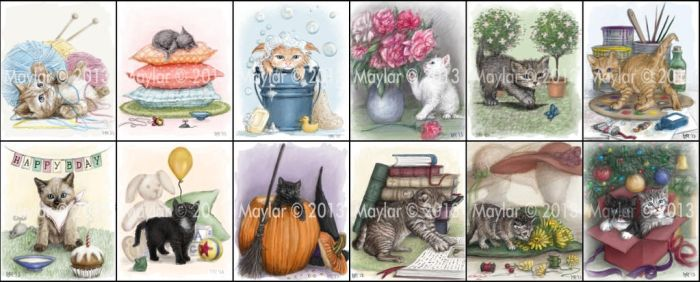 Kittens (miniature books illustrations) by Maylar