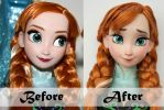 Disney Anna Doll Repaint | Before - After by claude-on-the-road