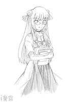 Simple Sketch for my Visual Novel - Patchouli by iAozora