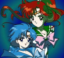 Sailor Mercury and Jupiter by seiyaodango