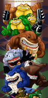 COMMISSION: TMNT vs STREET SHARKS vs BATTLE TOADS by Ishida1694