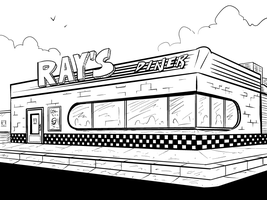 Immaculacy - Diner Exterior - Ink by Droakir