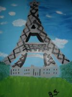 finger painted Eiffel Tower by sampson1721