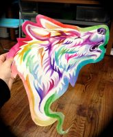 Rainbow Wolf Poster Cutout by Lucky978