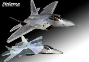 Sukhoi T-50 F22 Raptor by galm11