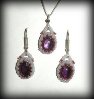 Beaded amethysts - earrings and  pendant by marsvar
