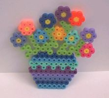 perler bead poted flowers by snowy-wolf
