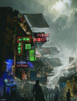 Dystopian Market by SamTheConceptArtist