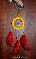 Yellow and red dreamcatcher by YourLittleBunny