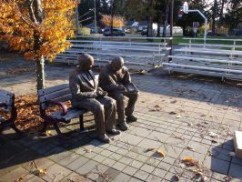 Elderly Couple on Bench by AmongTheFirst