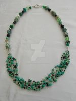 Green, black, silver multi strand necklace 343 by Quested-Creations