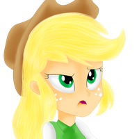 Applejack EQG thinking by Dragonfoorm