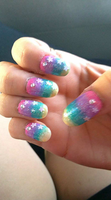 starry pastel ombre nails by kittyangelprincess