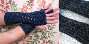 Denim Twist Fingerless Gloves by vombatiformes