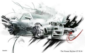 Nissan Skyline GT-R34 Wall by EliasKell