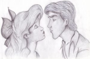 Almost- Ariel and Eric in pencil by ada23394