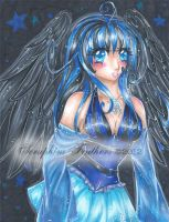 Blue and Black Angel by SeraphimFeathers