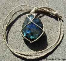 Hemp Wrapped Healing Crystal Labradorite Necklace by LWaite