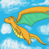 Flying Dragonite by GoldFlareon