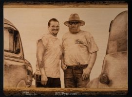 Pyrography Portrait of a Father and Son by brandojones