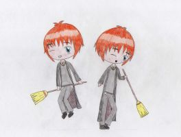 Harry Potter- Chibi Fred and George Weasley by LasManiaticas