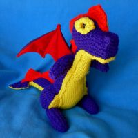Handmade Knit Dragon stuffed animal by CreativeCritters