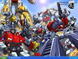 Desktop - The Autobots pose by peppermintwind
