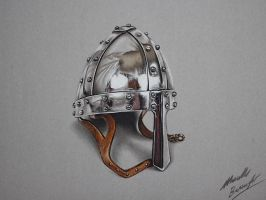 Chrome helmet with leather chin strap drawing by marcellobarenghi