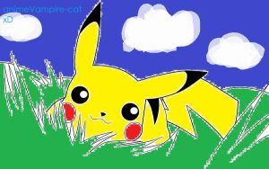 Pikachu in the grass. by animeVampire-cat