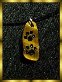 Cat Paw Pendant - Tiger Eye in Black by ChimeraDragonfang